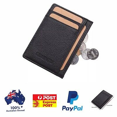 Men's Leather Wallet opal Card Holder , 6 Card Slots Slim Wallet