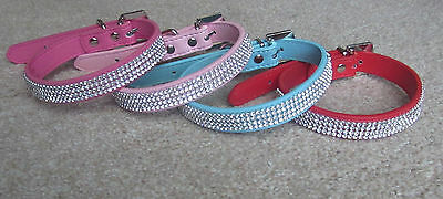 Luxury Diamante Rhinestone Crystal PU Leather Dog Cat Puppy Kitten Pet Collar