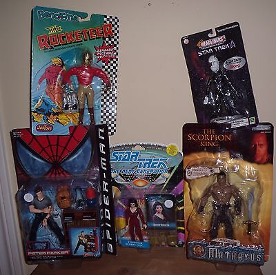 Multi Action Figures, Star Wars, Scorpion, Peter Parker, Rocketeer, Troi
