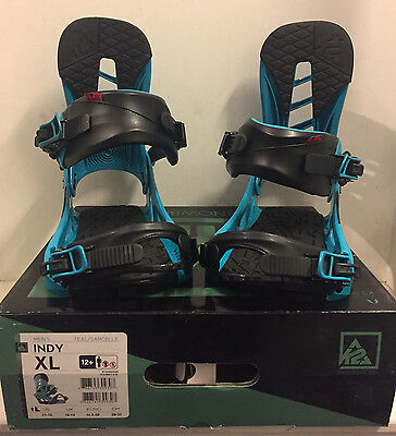 K2 Indy mens snowboard bindings XL BNIB new UK 10 14 Teal Blue