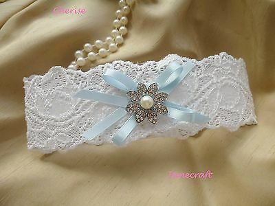 Ivory Wedding Garter 'cherise' Lace, Pearl & Crystal Vintage Style Bridal Gift