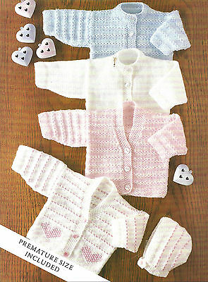 Baby Cardigans & Bonnet Knitting Pattern Premature 14 To 22 Inch  (5)
