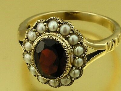 C1240 Genuine 9ct Yellow Gold NATURAL Oval Garnet & Pearl Ring made in your size