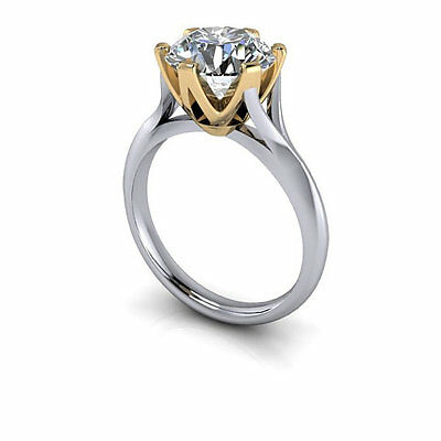 2CT Off White Real Moissanite Engagement Ring 925 Sterling Silver Ring