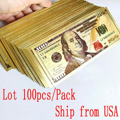 Lot 100pcs $100 Dollar Bill GOLD US BANK NOTE Colorized / Flexible Polycarbonate