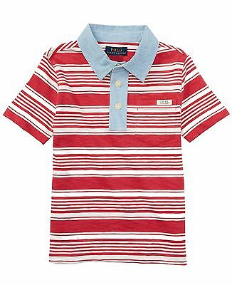 NWT Ralph Lauren Boys Short Sleeves Striped Polo Shirt Red Size XL