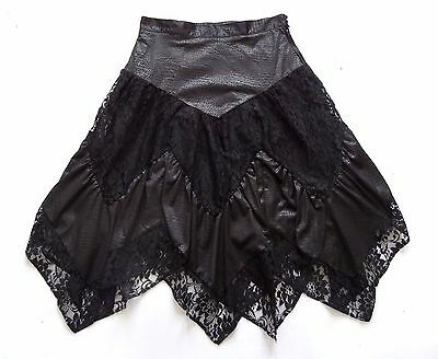Vintage 80's Lace Detailed Skirt Retro Boho Goth 14