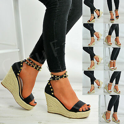 New Womens Espadrille Wedge Platforms Ladies Studs Ankle Strap Sandals Shoes Uk