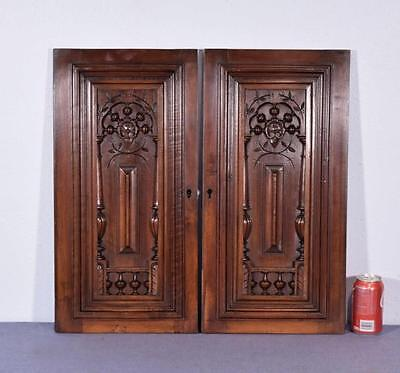 "Pair of 24"" Tall French Antique Carved Panels in Walnut Wood with Nautical Theme"