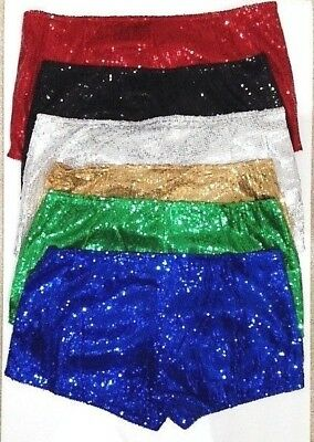 Women Sequin Full Panties Shorts -7 Vibrant Colors- One Size- Dancewear-Cosplay