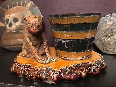 Antique 19th Century Victorian Majolica Pottery Monkey & Barrel Pot