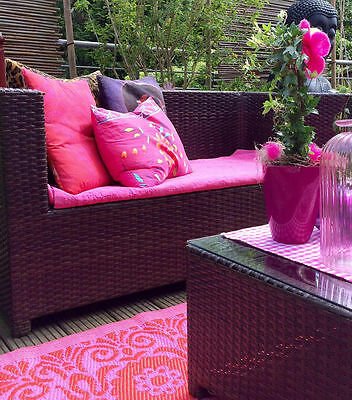 xl kunststoff outdoor teppich l ufer mit tollem muster pink rot 120x180cm eur 39 00 picclick de. Black Bedroom Furniture Sets. Home Design Ideas