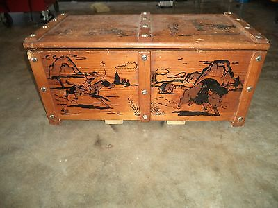 Vintage Cowboy Indian Western Toy Box Wood Frontier Chest Trunk Rope Handles