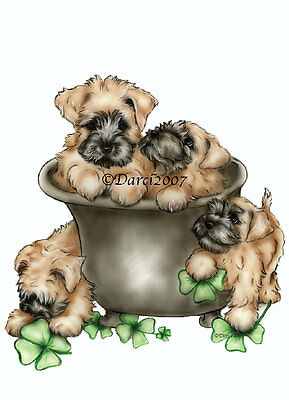 Wheaten Terrier pot of pups note cards