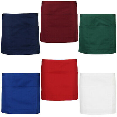 New Bar Apron Waiter Waitress Plain 4 Pockets Short Half Size Cafe Restaurant