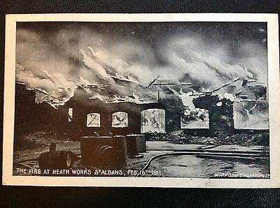 Postcard The Fire at Heath Works St Albans Feb 16th 1911