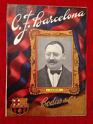 Programme Barcelona Spain Copenhague Boldklubben 1949 Friendly Bodas De Oro