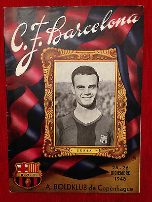 Programme Barcelona Spain Akademisk Boldklub Denmark 1948 Friendly Rare!!!