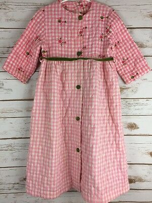 Vtg Handmade Girls Quilted Robe Pink Gingham Green Velvet Embroidered Floral
