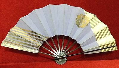 "RARE Old  Art Japanese Hand Fans paper 11"" Color Purple & Gold Free Shipping"