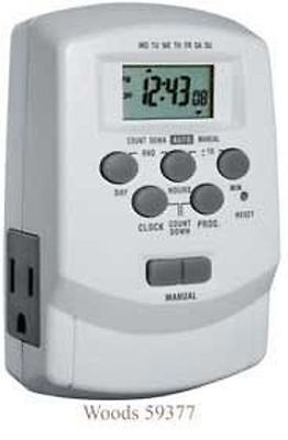 Woods 59377 also 49377 Digital 7-Day Lamp/Appliance Timer with 2 Outlets