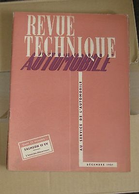 RTA revue technique automobile n°68 decembre 51  salmson 13ch
