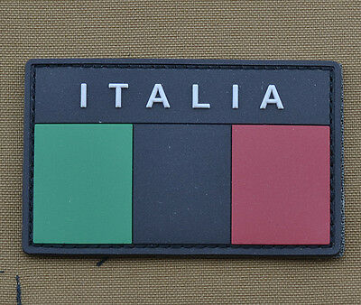 """PVC / Rubber Patch """"Subdued Italian / Italia Flag Black"""" with VELCRO® brand hook"""