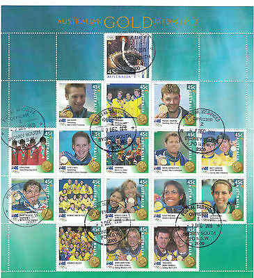 Australia Stamp Year Book 2000 Gold Medalists Sheet cto 2016 f