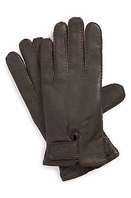 HUGO BOSS MENS KRANTO 2 LEATHER GLOVES DARK BROWN Size10   50% off of Retails