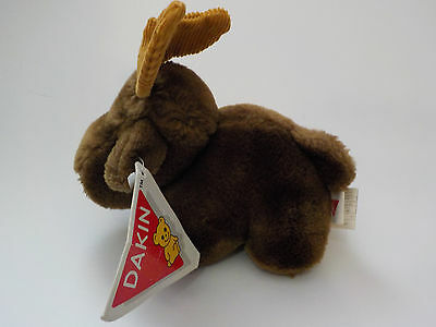 RARE New Vintage DAKIN Hand-Crafted Brown Moose Plush Stuffed Animal Toy #86924