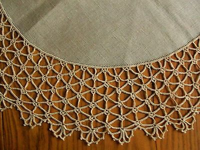 """Lovely Vintage 24"""" Flax Linen Table Topper Centerpiece ~5"""" Hand Crocheted Edging"""