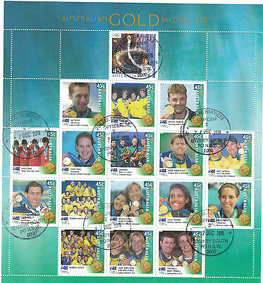 Australia Stamp Year Book 2000 Gold Medalists Sheet cto 2016 b