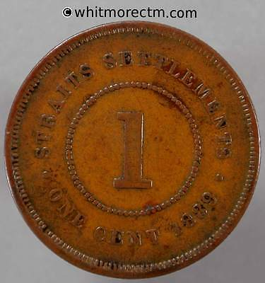 1889 Straits Settlements 1 Cent - Queen Victoria British Crown Colony