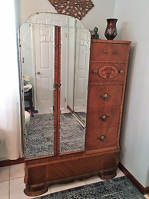Antique Wood Armoire-- Wardrobe-- Chest of drawers--Etched Mirrored Doors