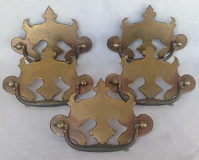 5 antique french draw pulls handles lot made of brass mid 1900's or before