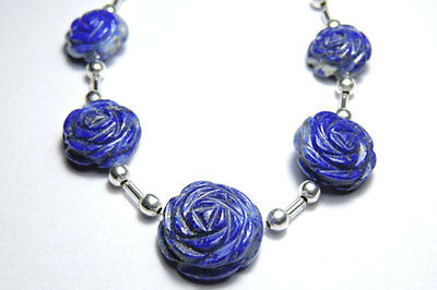 5 Pieces Natural Undyed Afghanistan Lapis Lazuli Hand Carved Rose Flower Beads