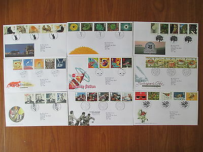 1995 Collection Of 9 Of The 10 First Day Covers All With Special Handstamps