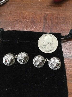Antique Vintage Sterling Silver Signed Figural Owl Cufflinks Rare Double Sided