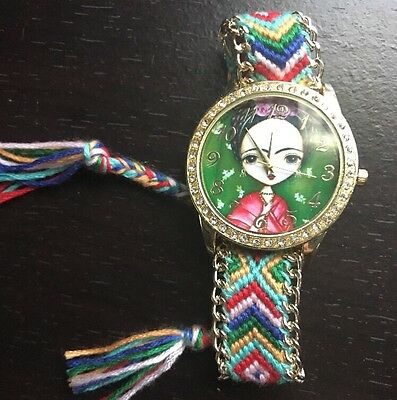 Frida Kahlo Hand Knit Watch Adjustable Colorful Women's Hand Woven Mexican Art