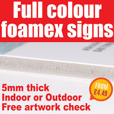 Foamex Sign Board 5mm Printed Full Colour Rigid Plastic Board