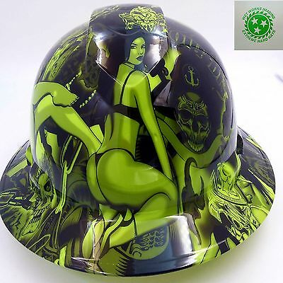 Hard Hat FULL BRIM custom hydro dipped , OSHA approved LIME GREEN BIKER BABES