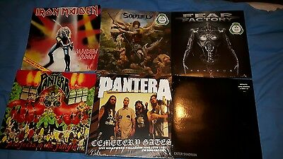 Iron Maiden Pantera Fear Factory Soulfly VINYL lot large vertigo swirl LP'S