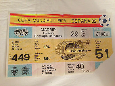 Entrada Ticket World Cup Spain 1982 Germany England Mundial Match 40