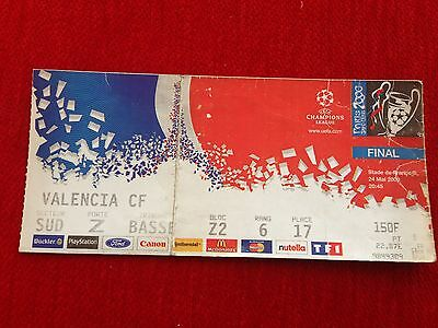 Entrada Ticket Real Madrid Valencia Final Uefa Champions League Paris 2000