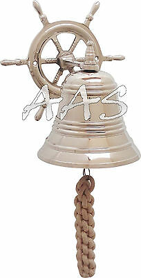 "Vintage Marine Nautical Silver Brass Wheel Wall Hanging Ship Bell 4"" Wheel Bell"