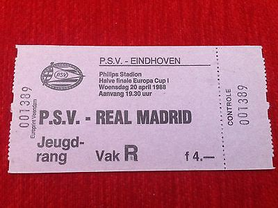 Entrada Ticket Psv Eindhoven Real Madrid European Cup 1987 1988 C1