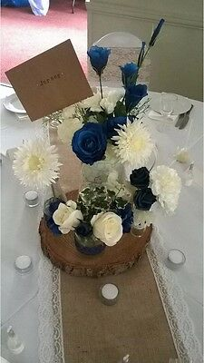 Set Of 10 Log Slice Centre Pieces 30-35cm Wood Wedding Display Approx 4cm thick