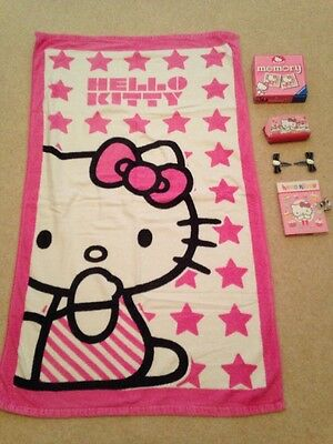 Hello Kitty bundle, towel, pairs game, purse, brand new notebook with padlock,