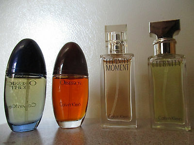 4 Bottles of CALVIN KLEIN Eternity, Eternity Moment, Obsession, Obession Night