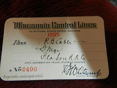 Wisconsin Central Railroad Railway Pass 1895